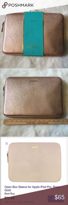 ‼️ONE DAY SALE‼️Kate Spade iPad Pro sleeve The shock-absorbent inner lining defends against bumps and drops. Fits Apple iPad Pro; Saffiano vegan leather construction; scratch-resistant; shock absorbent Color: Rose Gold. ❤️BRAND NEW NEVER USED❤️ 🚫LOW BALL OFFERS GET BLOCKED🚫 kate spade Accessories Tablet Cases