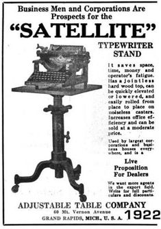 Adjustable Table Co., Grand Rapids, Michigan manufacturers of Satellite adjustable typewriter stands and tables Cast Iron Table Base, Adjustable Table, Drop Leaf Table, Book Stands, Brass Table Lamps, Vintage Typewriters, Iron Art, Industrial Table, Cocktail Tables