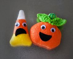 Pumpkin Magnet or Candy Corn Magnet - Halloween Magnet Set - Fall Magnets - Halloween Decor - Funny Holiday Decor
