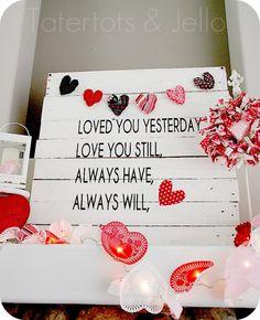 valentines Pallet art, and super cute valentines mantle