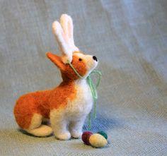 Little Felt Corgi Dressed as the Easter Bunny  by FiberFriends