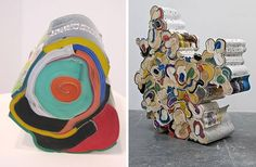 recycled books into art