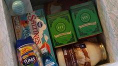 1st trimester survival kit: bella band, tea, tums, saltines, coconut oil, mouth wash, & lip balm