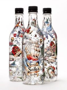 tattooed bottles. nice illustrations