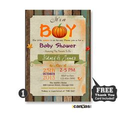 Pumpkin Baby Shower Invitation, Autumn Colors Baby Shower Invites, Burlap Wood Baby Shower, Autumn Theme, Shabby Chic Fall Theme Invites 104 by 800Canvas on Etsy