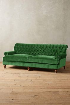 Velvet Fan Pleat Sofa - anthropologie.com so I'm super obsessed with green velvet couches right now...