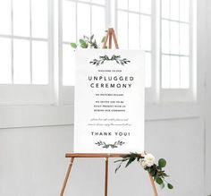 Printable Wedding Sign Unplugged Wedding Sign Unplugged