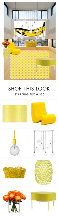 """pop"" by yasmina-muratovich ❤ liked on Polyvore featuring interior, interiors, interior design, home, home decor, interior decorating, Bungalow Flooring, Vitra, Andy Warhol and Muuto"