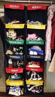 Organize kids clothes for each day of the week. Saves so much time and drama in the mornings, especially during the school week!