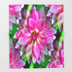Endless Pink Dahlia Throw Blanket
