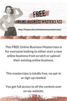Amazing FREE online business masterclass for all those who are looking to start or uplevel their online business. free with no opt-in or sign-up needed! Business Tips, Online Business, Free Blog, 100 Free, News Online, Master Class, Boss Lady, Food For Thought, Free Downloads