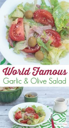Seriously...the best salad recipe ever - a make-at-home version of the world famous Columbia Restaurant 1905 Salad. It is a garlic and olive lover's delight. and so easy to make. #spon #OlivesFromSpain @olivesspain