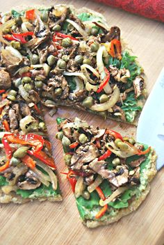 ADDICTED to VEGGIES: Creamy Pesto-Ranch Pizza with hand-made Almond-Flax Crust