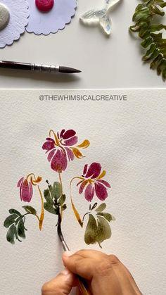 Realistic Flower Drawing, Cute Flower Drawing, Beautiful Pencil Drawings, Easy Flower Drawings, Pencil Drawings Of Flowers, Flower Art, Watercolor Flowers Tutorial, Watercolor Drawing, Watercolor Illustration