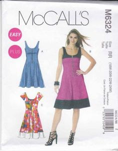 McCall's Sewing Pattern 6324 Misses Size 8-16 Easy Zipper Front Summer Dress  $15.99