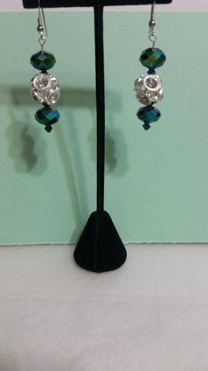 Peacock Green Crystals with Rhinestone Ball by JewelsbyLil on Etsy