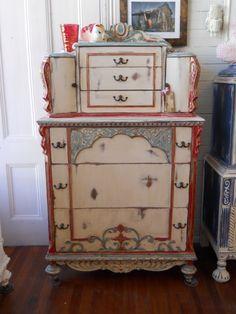 Vintage Shabby Distressed Painted HighBoy by SavannahHopeVintage, $650.00