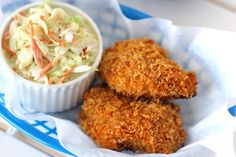 Oven-Fried Chicken with Homemade Coleslaw - Damn Delicious