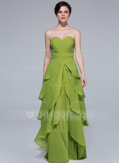 A-Line/Princess Sweetheart Floor-Length Chiffon Holiday Dress With Cascading Ruffles Holiday Dresses, Special Occasion Dresses, Wedding Party Dresses, Beautiful Gowns, Mother Of The Bride, Ruffles, Ball Gowns, Fashion Dresses, Formal Dresses