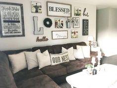 Home Living Room, Living Room Designs, Gallery Wall Living Room Couch, Living Room Picture Ideas, Living Room Wall Decor Ideas Above Couch, Rustic Living Room Decor, Room Ideas, Bedroom Rustic, Rustic Nursery
