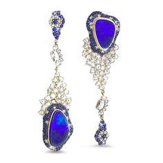 Michael John Portofino collection, Sottosopra black opal, sapphires and diamonds ear pendants