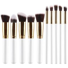 Stylish 10 Pcs Multifunction Soft Fiber Face Eye Makeup Brushes Set ($5.22) ❤ liked on Polyvore featuring beauty products, makeup, makeup tools and makeup brushes