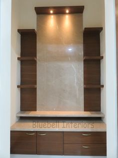 Pooja unit classic style living room by bluebell interiors classic Living Room Partition Design, Room Partition Designs, Living Room Tv Unit Designs, Bedroom Cupboard Designs, Kitchen Room Design, Home Room Design, Home Interior Design, Modern Tv Cabinet, Temple Design For Home