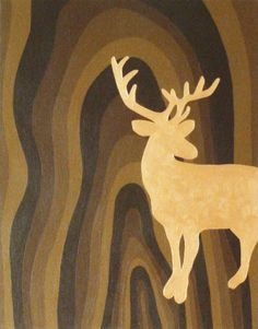"""Gold Stag Silhouette on wood grain background, original painting, acrylic on canvas 12"""" x 14"""""""
