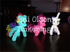 "Little PONIES. Loomed by Joni Olson on the Rainbow Loom. Joni said ""Just tinkering around while the kids are napping! Thanks PG, Crafty Ladybug - Rainbow Loom Creations and Marlene Barressii Crafts for a few helpful hints!"""