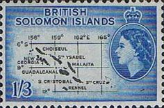 Solomon Island 1956 SG 91b Map Fine Mint Scott 100 Other Solomon Island Stamps HERE