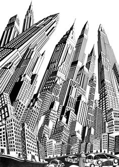 Deco by Josh Raymond, via Behance  This reminds me of the perspective techniques we have been looking at in our project with John Burns, about film noir and the machine age. Here the artist has manipulated the perspective so all the buildings are at different angles with different vanishing points, creating an interesting outcome.