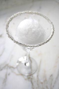 Snowball Martini- vanilla vodka over snowcone ice or icecream