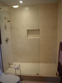 We Built This Custom Shower With A Concrete Wall To Wall Shower Base And  Recessed Soap