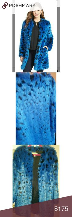 Michael Kors faux fur blue leopard coat Gorgeous bright blue faux fur in a fabulous leopard print! Brand new, never worn, perfect condition. Soft fur!!! Michael Kors Jackets & Coats