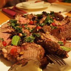 Stuffed Leg of Lamb with Balsamic-Fig-Basil Sauce Allrecipes.com