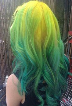 Yellow neon green ombre hair color