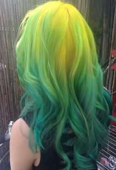 Yellow neon green ombre hair color