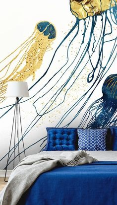 If you are looking for a glam navy and gold-colored wallpaper, take a look at this stunning Jellyfish II mural! Pair this fabulous sea life wallpaper with blue and metallic tones to mirror the colors in this beautiful design. Choose navy bedding and why not paint the surrounding walls white gold shimmery paint? #jellyfishwallpaper #sealifewallmural Fish Wallpaper, Gold Wallpaper, Colorful Wallpaper, Custom Wallpaper, Designer Wallpaper, Vintage Sink, Navy Bedding, Shades Of Gold, Blue Wallpapers
