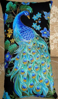 Beaded Peacock Pillow Saved from The Beaded Pillow Peacock Quilt, Peacock Pillow, Peacock Decor, Peacock Colors, Peacock Bird, Peacock Feathers, Peacock Bedroom, Peacock Fabric, Peacock Theme