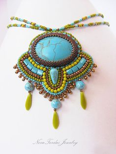 Bead embroidery necklace Turquoise howlit by NoraTordaiJewelry