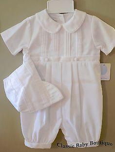 Petit Ami White Romper 3 6 9 12 18 24 Months Baby Boys Christening Baptism Knicker Set