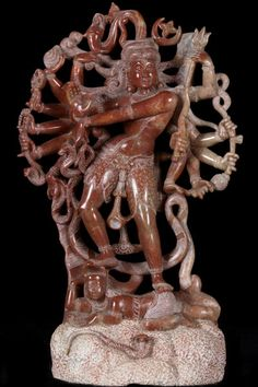 """View the Marble Shiva Statue with 14 Arms 14.5"""""""