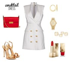 """""""WHITE, RED & GOLD"""" by jovanovic-ivana ❤ liked on Polyvore featuring Balmain, Giuseppe Zanotti, Lanvin, Michael Kors, Ross-Simons and Burberry"""