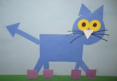 "Pete the Shapely Cat- My preschoolers loved making these. It was funny to see where they each put the eyes and nose. The kidlets love this story. Youtube has a great musical version! So fun! THis will be a craft in my September ""Shapes and Colours unit""! Ruth:)"