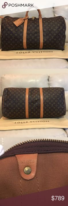 AUTH Louis Vuitton Keepall 55 Weekender duffle bag AUTH.Louis Vuitton brown monogram canvas keepall 55 weekender duffle bag.Minor signs of wear.Overall in very good solid condition.Minor Scratches,Scuffs,rubbed and Marks at exterior&interior leather.Minor Darkening,Scratches,marks,rubbed,and Scuffs to Handles.Minor Tarnishing,and Verdigris to Hardware.Comes with LV name tag,XL folded dust bag,Lock and key.Sold as is.Please READall the details&descriptions carefully to avoid any potential…