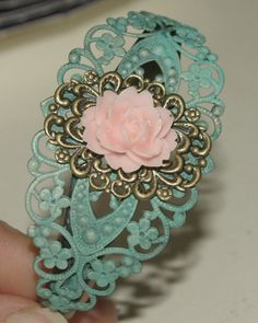 Hand Painted Filigree, Antique Brass Cuff with Light Pink Rose by groovychickjewelry, $14.50