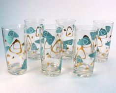 Vintage Turquoise and Gold Amoebae Design Cocktail or Juice Glasses ...