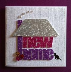 Handmade new home card New Home Cards, House Of Cards, Card Making Inspiration, Making Ideas, Housewarming Card, Happy New Home, Origami, Old Cards, Congratulations Card