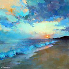 Summer Sunset by Trisha Adams Oil ~ 30 x 30 / crépuscule / bleu / jaune / plage / mer / vague / peinture / couleur / paix