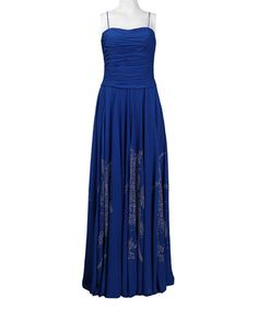 Royal Blue Ruched Flourish Gown